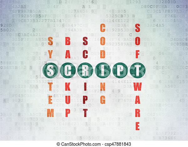 Software Concept Script In Crossword Puzzle Software Concept