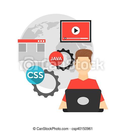software developer and programmer vector illustration design clip rh canstockphoto com software clipart software clipart definition