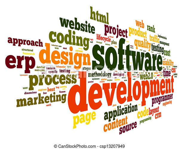 Software development concept in tag cloud - csp13207949