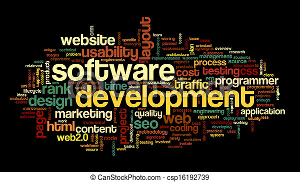 Software development concept in tag cloud - csp16192739