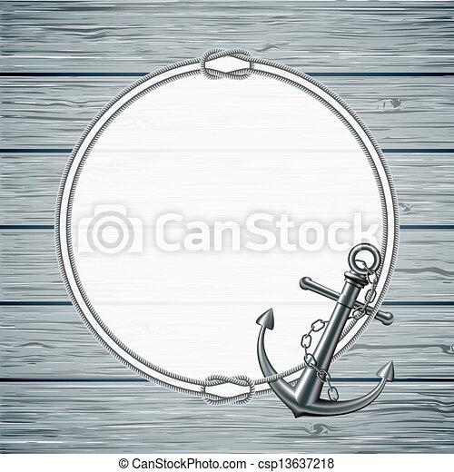 Tarjeta náutica con marco de cuerda y ancla - csp13637218