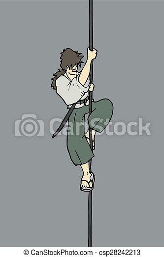 Un personaje escalando una cuerda - csp28242213