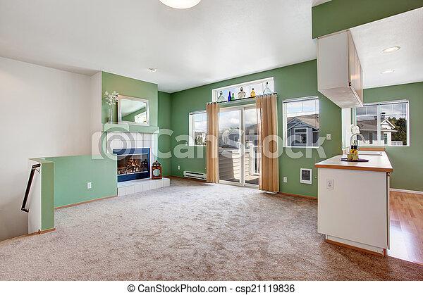 soggiorno, casa, interior., caminetto, vuoto - csp21119836