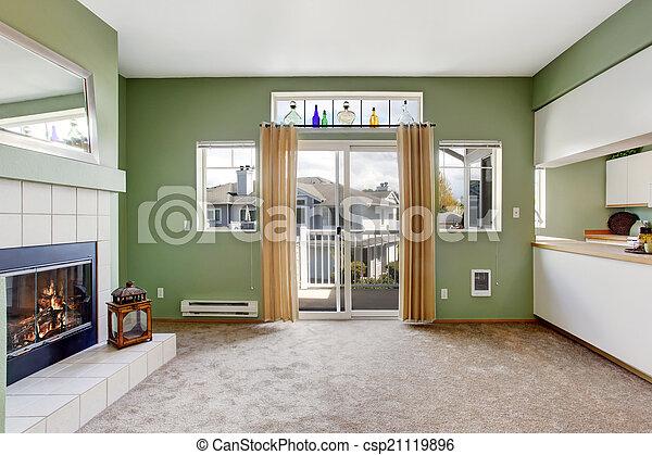 soggiorno, casa, interior., caminetto, vuoto - csp21119896