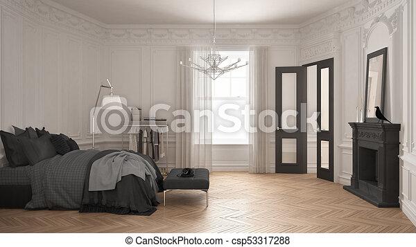 soggiorno, classico, vendemmia, moderno, scandinavo, grigio, disegno,  lusso, camera letto, interno, caminetto, bianco