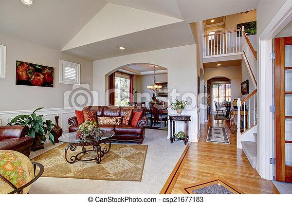 Soggiorno, cuoio, casa, lusso, interior., divani. Vivente,... foto ...