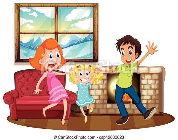 Illustrazione, soggiorno, famiglia, felice.