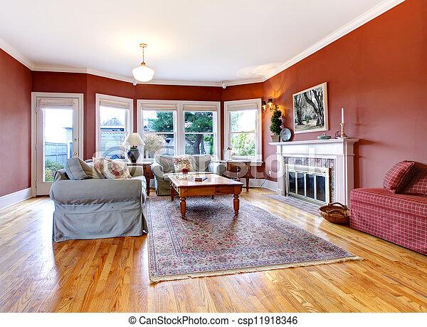 Soggiorno, grande, pareti, fireplace., rosso, bello.