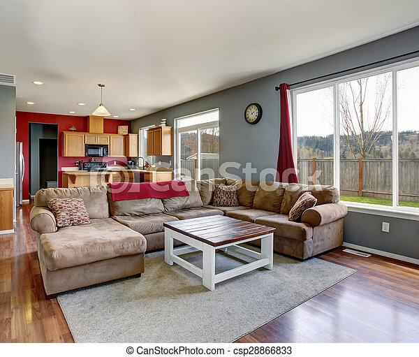 Soggiorno, grigio, divano, moderno, walls., beige.... foto d ...