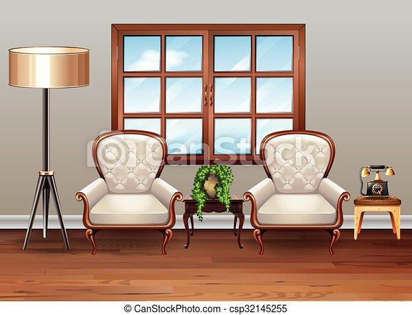 Soggiorno, lusso, poltrone. Vivente, poltrone, stanza,... vettore di ...