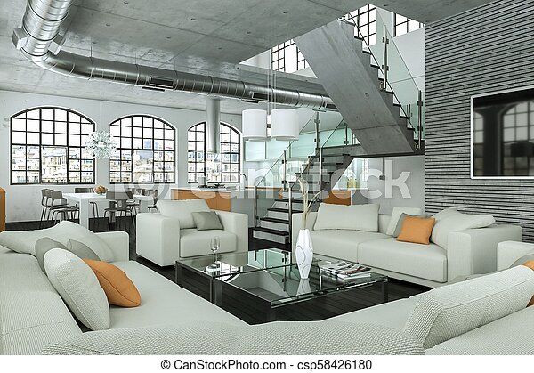 soggiorno, moderno, disegno, interno, bianco