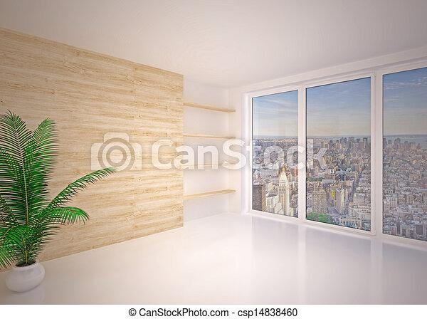 soggiorno, moderno, salotto, interno, vuoto - csp14838460