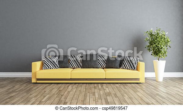 soggiorno, parete, idea, grigio, disegno, interno