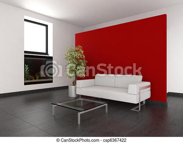 Soggiorno, parete, moderno, acquario, rosso.