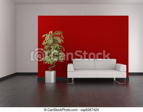 Soggiorno pavimento parete moderno pavimentato rosso.
