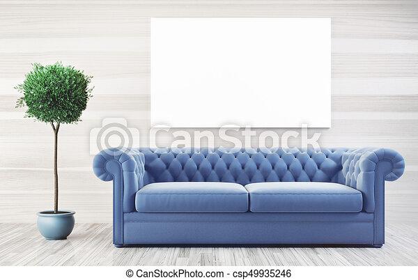 Soggiorno, render, divano, cornice, parete, illustrazione, bianco ...