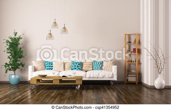 Soggiorno, render, divano, interno, 3d. Vivente, pianta, stanza ...