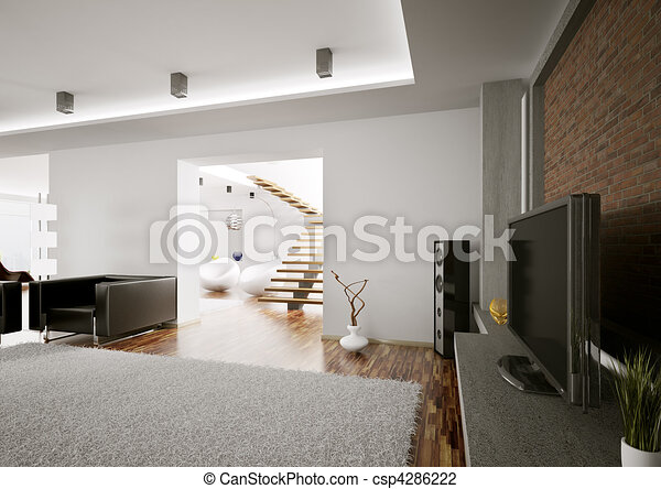 soggiorno, render, lcd, interno, 3d - csp4286222