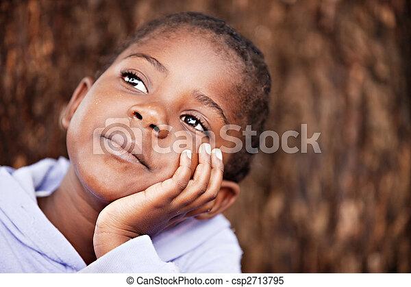 sognante, bambino, africano - csp2713795