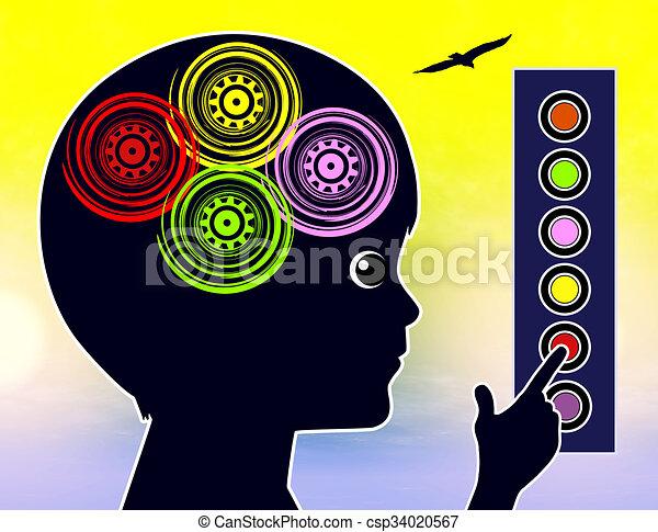 soi, concept, apprentissage, gosses - csp34020567