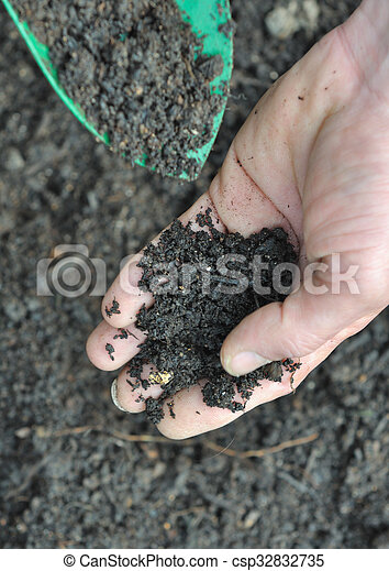 soil in a hand - csp32832735