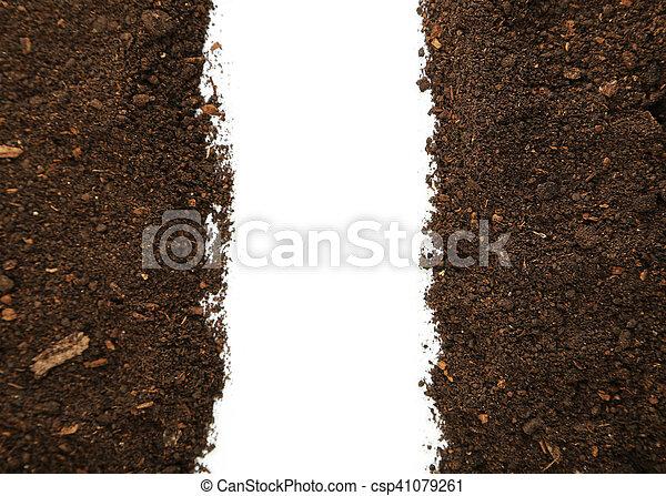 Soil on white background - csp41079261