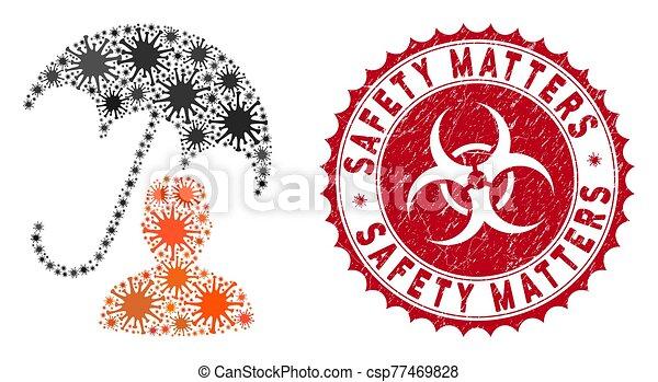 soin patient, coronavirus, collage, textured, compter, icône, cachet, sécurité, parapluie - csp77469828