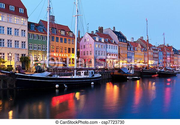 soir, danemark, paysage, nyhavn, copenhague - csp7723730