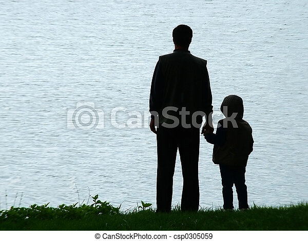 soir, silhouette, homme, enfant - csp0305059