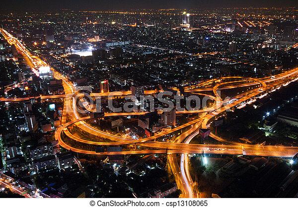 soir, sommet, bangkok, cityscape, thaïlande, autoroute, autoroute, vue - csp13108065