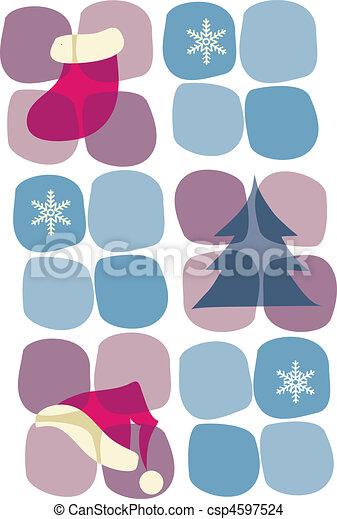 sok, kerstboom, icons;, hoedje, snowflakes-1 - csp4597524