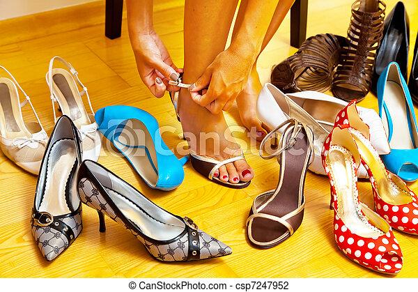 sok, nő, cipők, kiválaszt - csp7247952