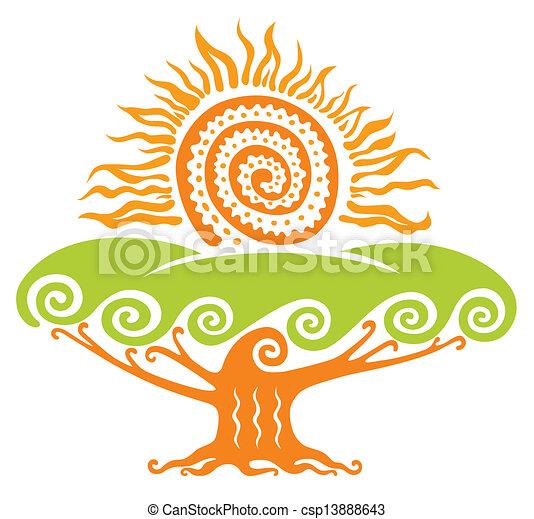 sol, árvore - csp13888643