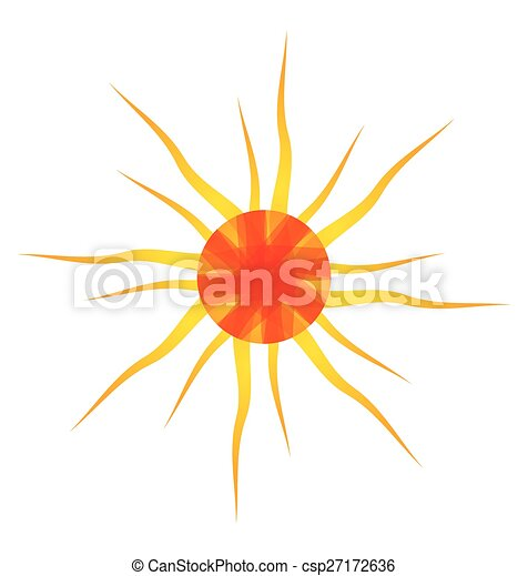 sol alaranjado, ilustração artística - csp27172636