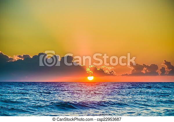 sol, alvorada, tranqüilo, mar, pacata - csp22953687