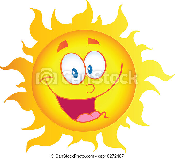 sol, carácter, caricatura, feliz - csp10272467