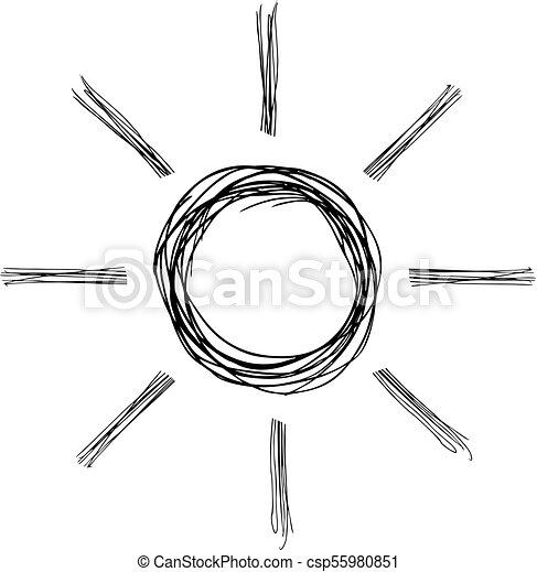 sol, desenho, ilustração - csp55980851