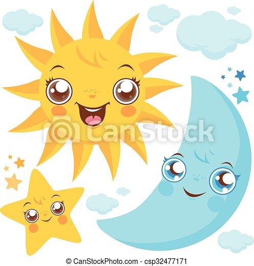 Sol Estrellas Luna Lindo Conjunto Sol Luna Ilustración