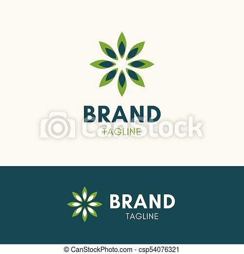 sol, folha, harmonia, logotipo - csp54076321