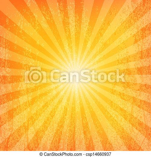 sol, grunge, padrão, sunburst - csp14660937