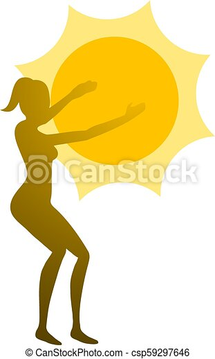 sol, ioga, ilustração - csp59297646