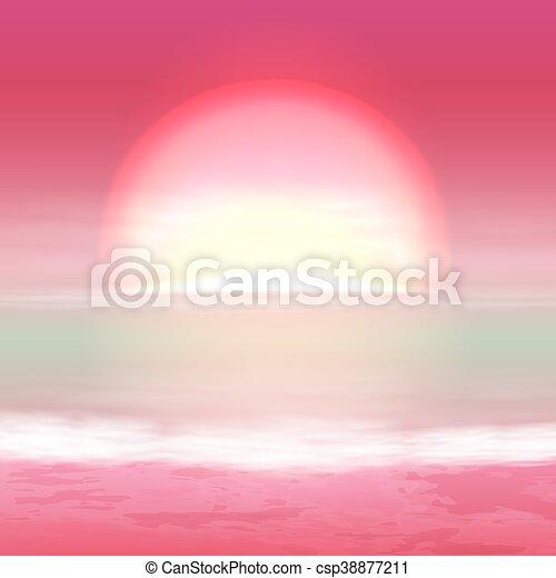 sol, luminoso, pôr do sol, mar - csp38877211