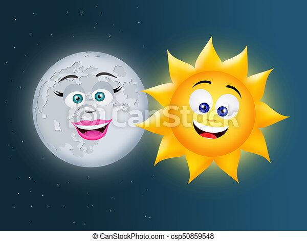 Sol Luna Sol Ilustración Luna