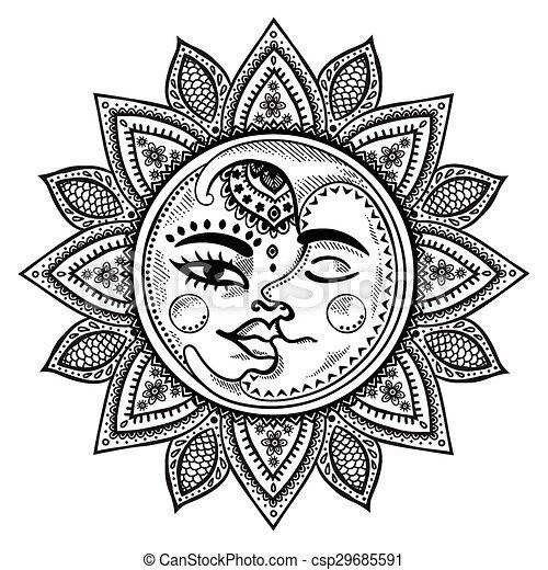 Sol Luna Ilustración Vendimia Sol Vendimia Ilustración Luna