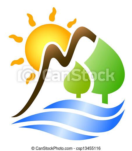 sol, montañas, ondas - csp13455116