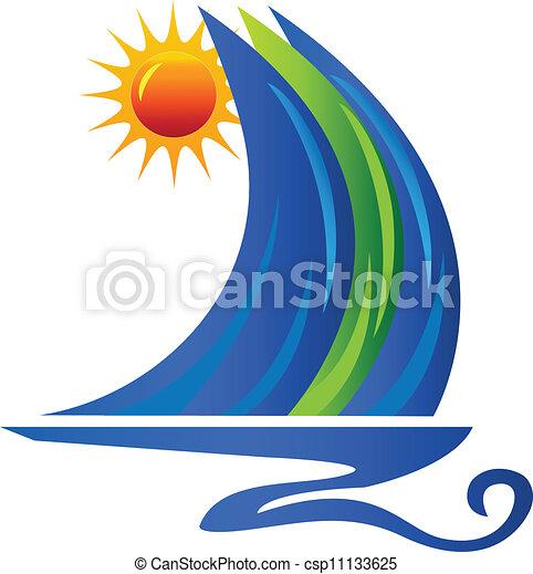 Olas de barco y logotipo solar - csp11133625