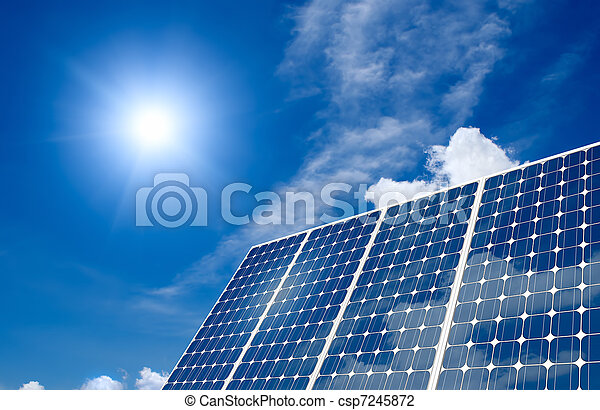 Panel solar y sol - csp7245872