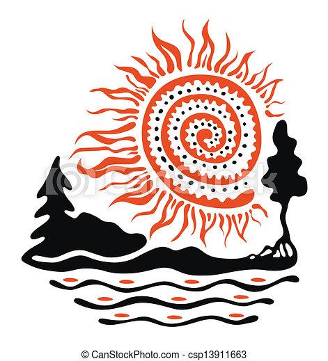 sol, rio, floresta - csp13911663