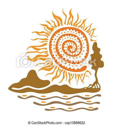 sol, rio, montanhas - csp13888622