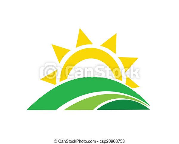 sol, vector, ilustración, salida del sol - csp20963753